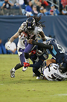 Baltimore Ravens RB Alex Collins #34 during an NFL football game between the Baltimore Ravens and the Tennessee Titans, Sunday, Oct. 14, 2018 in Nashville, Tenn. (Photo by Michael Zito/AP Images for Panini)