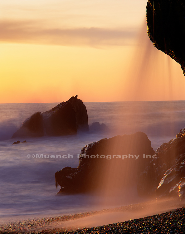 """Wave and waterfall, Big Sur Coastline   CALIFORNIA"""