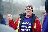 Branch secretary John Burgess, Barnet Unison picket at Mill Hill Depot during strike over outsourcing of services including  catering, street cleaning and refuse collection