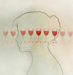 Concept image of a woman's profile and a line of glasses of wine depicting excessive alcohol consumption