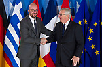 Belgium, Brussels - June 24, 2018 -- Informal working meeting on migration and asylum issues convened by Jean-Claude JUNCKER (ri), President of the European Commission, here welcoming Charles MICHEL (le), Prime Minister of Belgium -- Photo © HorstWagner.eu