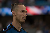 San Jose, CA - Tuesday June 11, 2019: François Affolter #3 during the National Anthem before the US Open Cup match between the San Jose Earthquakes and Sacramento Republic FC at Avaya Stadium.