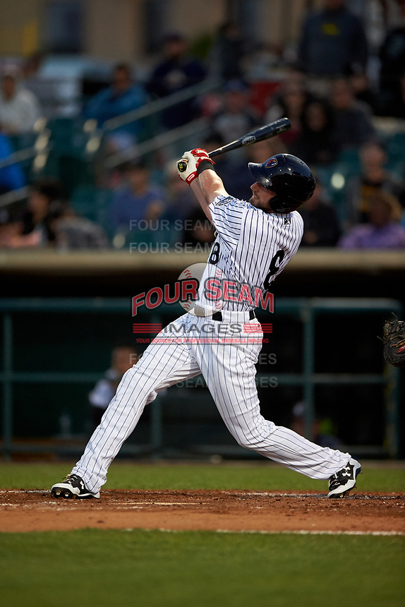 Lancaster JetHawks designated hitter Vince Fernandez (8) follows through on his swing during a California League game against the Visalia Rawhide at The Hangar on May 17, 2018 in Lancaster, California. Lancaster defeated Visalia 11-9. (Zachary Lucy/Four Seam Images)