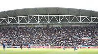 Leeds United fans watch as their team win 2-0<br /> <br /> Photographer Stephen White/CameraSport<br /> <br /> The EFL Sky Bet Championship - Wigan Athletic v Leeds United - Saturday 17th August 2019 - DW Stadium - Wigan<br /> <br /> World Copyright © 2019 CameraSport. All rights reserved. 43 Linden Ave. Countesthorpe. Leicester. England. LE8 5PG - Tel: +44 (0) 116 277 4147 - admin@camerasport.com - www.camerasport.com