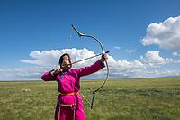 Mongolia, Gobi Gurvan Saikhan National Park, Gobi Desert, archers at small Naadam festival at Three Camel Lodge.