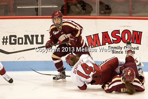 Emily Pfalzer (BC - 14), Jillian Dempsey (Harvard - 14), Meagan Mangene (BC - 24) - The Boston College Eagles defeated the Harvard University Crimson 2-1 in the opening game of the 2013 Beanpot on Tuesday, February 5, 2013, at Matthews Arena in Boston, Massachusetts.