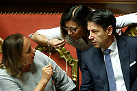 Luciana Lamorgese, Paola De Micheli and Giuseppe Conte<br /> Rome September 10th 2019. Senate. Discussion and Trust vote at the new Government. <br /> Foto  Samantha Zucchi Insidefoto