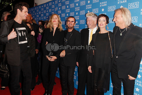 LOS ANGELES, CA - JANUARY 20: Jim Carrey, Barbara Bach, Ringo Starr, David Lynch, Marjorie Bach and Joe Walsh at the David Lynch Foundation honors Ringo Starr with the 'Lifetime Of Peace & Love Award' held at the El Rey Theatre on January 20, 2014 in Los Angeles, California. Credit: StarShooter/MediaPunch