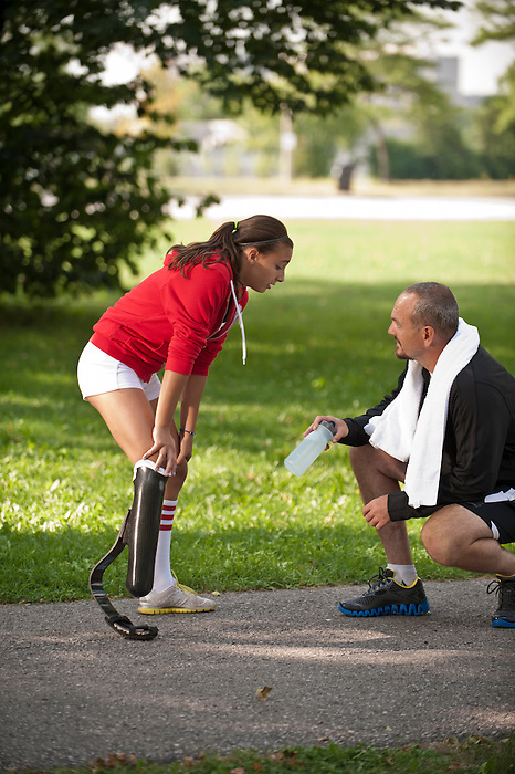 "3/12/2012 - Marissa Papaconstantinou and Christopher Holden (coach) are featured in a photoshoot for the Canadian Paralympic Committee Recruitment Ad Campaign entitled ""It's More Than Sport"". Photo Credit: Canadian Paralympic Committee/Frédéric Solenthaler"