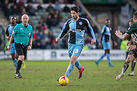 Joe Jacobson of Wycombe Wanderers during the Sky Bet League 2 match between Plymouth Argyle and Wycombe Wanderers at Home Park, Plymouth, England on 30 January 2016. Photo by Mark  Hawkins / PRiME Media Images.