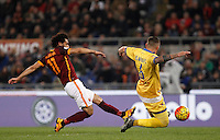 Calcio, Serie A: Roma vs Frosinone. Roma, stadio Olimpico, 30 gennaio 2016.<br /> Roma&rsquo;s Mohamed Salah, left, is challenged by Frosinone&rsquo;s Leonardo Blanchard during the Italian Serie A football match between Roma and Frosinone at Rome's Olympic stadium, 30 January 2016.<br /> UPDATE IMAGES PRESS/Isabella Bonotto
