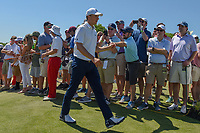 Jordan Spieth (USA) shakes hands with fans as he approaches 10 during round 1 of the AT&T Byron Nelson, Trinity Forest Golf Club, at Dallas, Texas, USA. 5/17/2018.<br /> Picture: Golffile | Ken Murray<br /> <br /> <br /> All photo usage must carry mandatory copyright credit (© Golffile | Ken Murray)