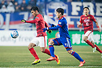 Guangzhou Midfielder Liao Lisheng (L) in action against Suwon Midfielder Kim Minwoo (R) during the AFC Champions League 2017 Group G match Between Suwon Samsung Bluewings (KOR) vs Guangzhou Evergrande FC (CHN) at the Suwon World Cup Stadium on 01 March 2017 in Suwon, South Korea. Photo by Victor Fraile / Power Sport Images