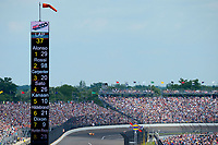Verizon IndyCar Series<br /> Indianapolis 500 Race<br /> Indianapolis Motor Speedway, Indianapolis, IN USA<br /> Sunday 28 May 2017<br /> Fernando Alonso, McLaren-Honda-Andretti Honda is shown as the leader on the scoring pylon as he speeds out of turn 4.<br /> World Copyright: F. Peirce Williams<br /> LAT Images