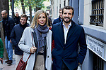 Pablo Casado and his wife Isabel Torres during the Partido Popular leader Pablo Casado voting in Madrid at Nuestra Senora del Pilar school in Madrid, Spain. November 10, 2019. November 10, 2019. (ALTERPHOTOS/A. Perez Meca)