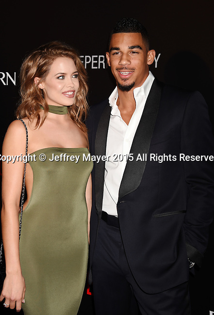 BEVERLY HILLS, CA - SEPTEMBER 02: NHL player Evander Kane (R) and model Mara Teigen arrive at the premiere of Screen Gems' 'The Perfect Guy' at The WGA Theater on September 2, 2015 in Beverly Hills, California.