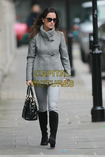 Pippa Middleton arrives for work, London, England..November 21st, 2011.full length sunglasses shades grey gray coat jacket jeans denim black boots bag purse .CAP/HIL.©John Hillcoat/Capital Pictures .