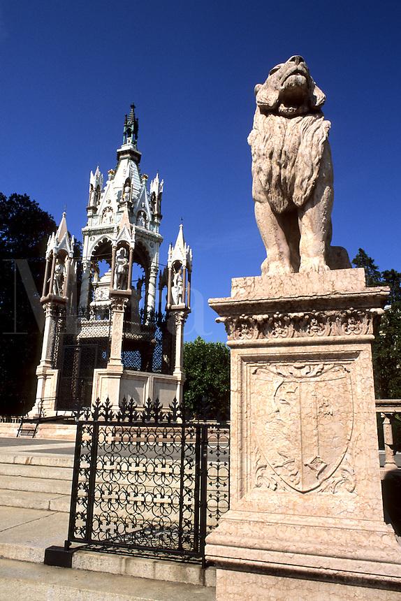 Switzerland Monument Brunschwick and lion in front in park in capital of Geneva Switzerland