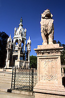 Switzerland Monument Brunschwick and lion in front in park in capital of Geneva Switzerland