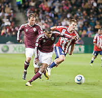CARSON, CA – MARCH 26: Colorado Rapid defender Anthony Wallace (6) and Chivas USA forward Justin Braun (17) during the match between Chivas USA and Colorado Rapids at the Home Depot Center, March 26, 2011 in Carson, California. Final score Chivas USA 0, Colorado Rapids 1.