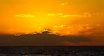 Sunrise over the Caribbean Sea at Puerto Morelos, Mexico.
