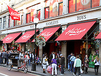 London - Hamleys, in London's Regent Street - the World's largest toy store - has been purchased by the French toy retailer Groupe Ludendo this week. It had previously been owned by Baugur Group, which paid £58.7 million in 2003 - September 18th 2012 ..Photo by Keith Mayhew.