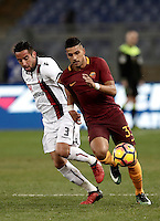 Calcio, Serie A: Roma vs Cagliari, Roma, stadio Olimpico, 22 gennaio 2017.<br /> Roma's Emerson Palmieri, right, in action with Cagliari's Isla, left, during the Italian Serie A football match between Roma and Cagliari at Rome's Olympic stadium, 22 January 2017. <br /> UPDATE IMAGES PRESS/Isabella Bonotto