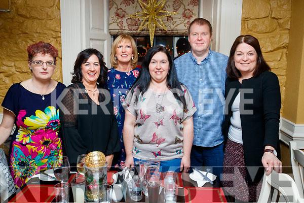 Mary Ellen Fitzgerald, Helen O'Brien, Ann Lucid, Lena Dennehy, Padraig Marshall and Tina McKenna, enjoying a friends night out at the Brogue Inn, Tralee on Saturday night last.