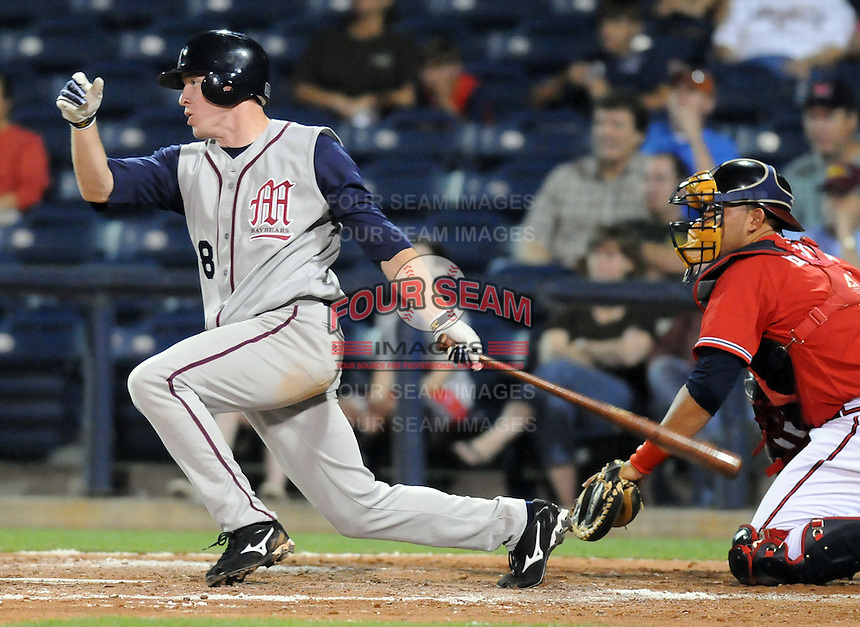 10 April 2008: Rusty Ryal of the Mobile BayBears, Class AA affiliate of the Arizona Diamondbacks, in a game against the Mississippi Braves at Trustmark Park in Pearl, Miss. Photo by:  Tom Priddy/Four Seam Images