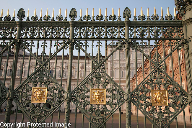 Gates of the Royal Palace in Turin - Torino in Italy
