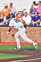 Pulaski Yankees second baseman Ezequiel Duran (26) runs to first base during a game against the Johnson City Cardinals at TVA Credit Union Ballpark on July 7, 2018 in Johnson City, Tennessee. The Cardinals defeated the Yankees 7-3. (Tony Farlow/Four Seam Images)