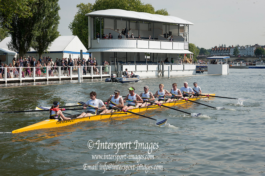 Henley Royal Regatta, Henley on Thames, Oxfordshire, 3-7 July 2013.  Friday  16:30:32   05/07/2013  [Mandatory Credit/Intersport Images]<br /> <br /> Rowing, Henley Reach, Henley Royal Regatta.<br /> <br /> Row past by York City Rowing Club