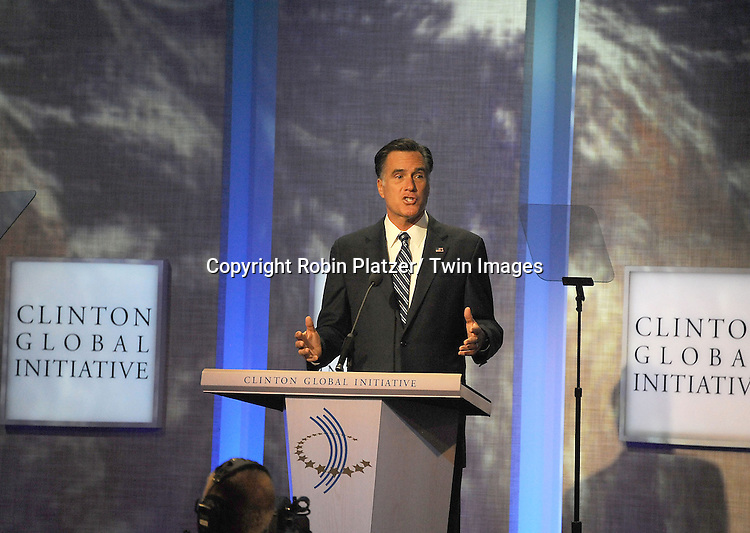 Mitt Romney at  the Clinton Global Initiative where Mitt Romney  spoke on September 25, 2012 at the Sheraton in New York City.