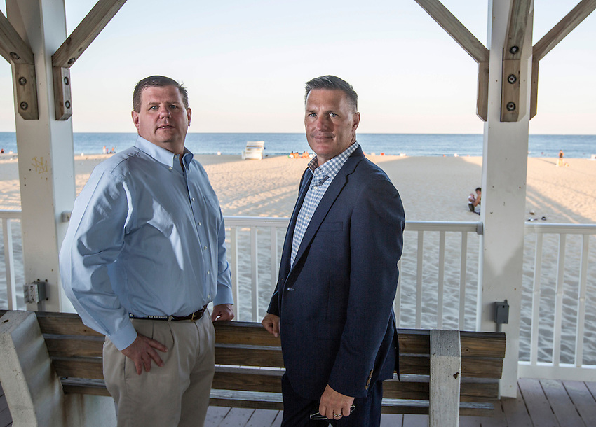 Manasquan Democrats 2016 campaign photos. <br /> <br /> Borough council candidates Owen McCarthy (left) and Rich Read.  8/24/16  (photo by Andrew Mills)