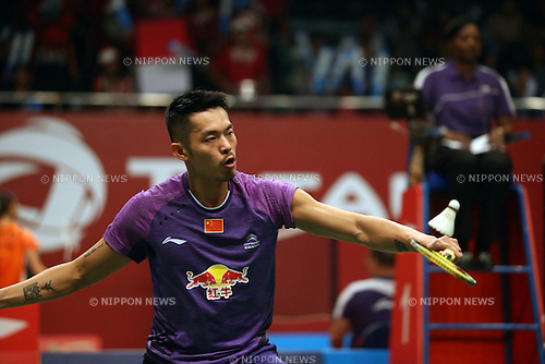 Lin Dan (CHN), AUGUST 11, 2015 - Badminton : BWF World Championships 2015 Men's Singles 1st round match in Jakarta, Indonesia. (Photo by Toshihiro Kitagawa/AFLO)