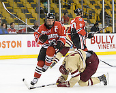 Mike McLaughlin (Northeastern - 18), Kevin Hayes (BC - 12) - The Boston College Eagles defeated the Northeastern University Huskies 7-1 in the opening round of the 2012 Beanpot on Monday, February 6, 2012, at TD Garden in Boston, Massachusetts.