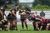 Joe Heta waits for the forwards to pack down in a scrum.  Counties Manukau Premier Club Rugby game between Papakura & Bombay played at Massey Park Papakura on Saturday May 30th 2009..Bombay won 57 - 7 after leading 24 - 0 at halftime.