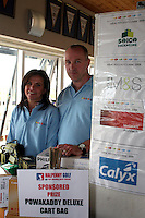 Stephanie and Ken Hevey with the prizes and list of sponsors at the Abacas Golf Classic in Seapoint Golf Club, Termonfeckin...Photo NEWSFILE/Jenny Matthews.(Photo credit should read Jenny Matthews/NEWSFILE)....This Picture has been sent you under the condtions enclosed by:.Newsfile Ltd..The Studio,.Millmount Abbey,.Drogheda,.Co Meath..Ireland..Tel: +353(0)41-9871240.Fax: +353(0)41-9871260.GSM: +353(0)86-2500958.email: pictures@newsfile.ie.www.newsfile.ie.FTP: 193.120.102.198.