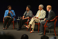 June 5, 2013  (Washington, DC)  (L-R) Gwen Ifill, Mrylie Evers, Julian Bond and Jerry Mitchell during a panel discussion at the Newseum on the 50th anniversary of assassination of civil rights activist Medgar Evers.  (Photo by Don Baxter/Media Images International)