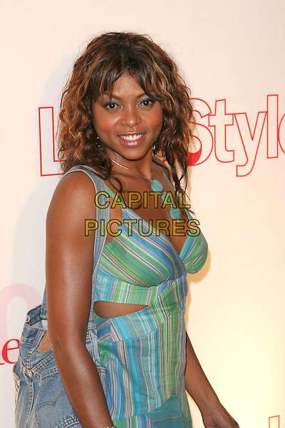 TARAJI HENSON.Attends Life & Style Magazine Presents Stylemakers 2005 held at the Monmartre Lounge, Hollywood, California. USA, 26 May 2005. .half length green blue patterned print striped dress necklace.Ref: ADM.www.capitalpictures.com.sales@capitalpictures.com.©Zach Lipp /AdMedia/Capital Pictures.