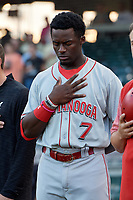 Chattanooga Lookouts Taylor Trammell (7) during the national anthem before a Southern League game against the Birmingham Barons on May 2, 2019 at Regions Field in Birmingham, Alabama.  Birmingham defeated Chattanooga 4-2.  (Mike Janes/Four Seam Images)