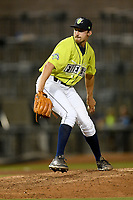 Pitcher Jake Simon (25) of the Columbia Fireflies delivers a pitch in a game against the Hickory Crawdads on Wednesday, August 28, 2019, at Segra Park in Columbia, South Carolina. Hickory won, 7-0. (Tom Priddy/Four Seam Images)