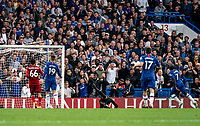 N'Golo Kante of Chelsea scores during the Premier League match between Chelsea and Liverpool at Stamford Bridge, London, England on 22 September 2019. Photo by Liam McAvoy / PRiME Media Images.