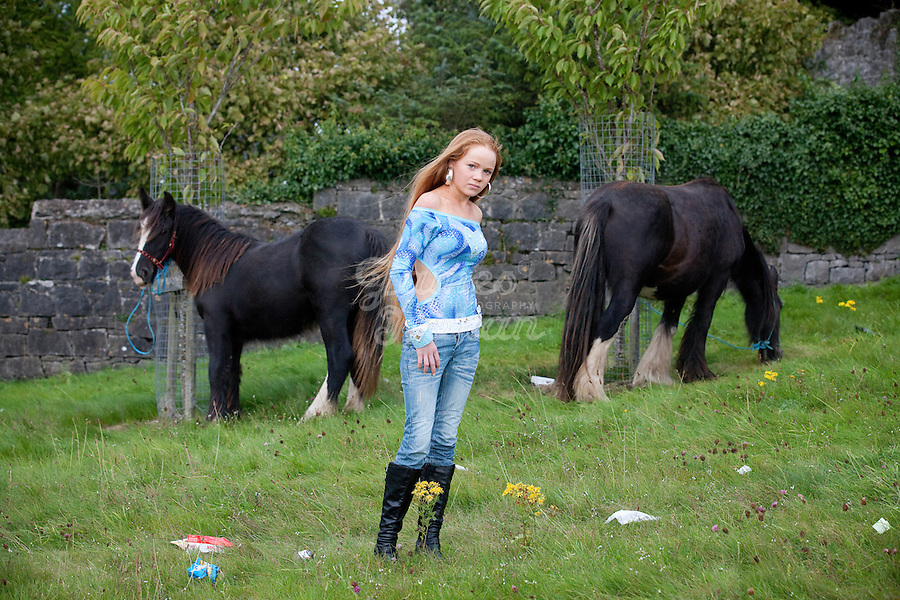 2/10/2010.  13 year old taveler girl Philomena Stoakes from Galway is pictured at the Ballinasloe Horse Fair, Ballinasloe, County Galway, Ireland. Picture James Horan