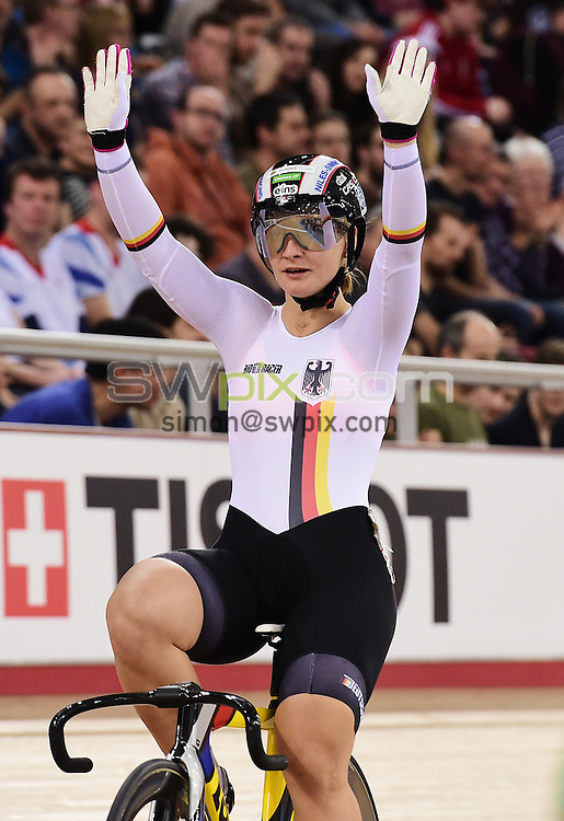Picture by Alex Broadway/SWpix.com - 06/03/2016 - Cycling - 2016 UCI Track Cycling World Championships, Day 5 - Lee Valley VeloPark, London, England - Kristina Vogel of Germany celebrates after winning Bronze in the Women's Sprint Final.
