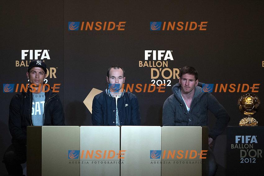Cristiano Ronaldo (L.POR), Andres Iniesta (SPA) e Lionel Messi (R.ARG).Zurigo 7/1/2013 .Cerimonia di Premiazione pallone d'oro 2012.Foto Andreas Meier/ freshfocus / Insidefoto.Italy ONLY