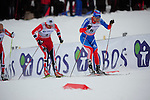 HOLMENKOLLEN, OSLO, NORWAY - March 16: (R-L) Ilia Chernousov of Russia (RUS) and Petter jr. Northug of Norway (NOR) during the Men 50 km mass start, free technique, at the FIS Cross Country World Cup on March 16, 2013 in Oslo, Norway. (Photo by Dirk Markgraf)