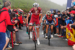 Ilnur Zakarin (RUS) Katusha Alpecin and Vincenzo Nibali (ITA) Bahrain-Merida on the brutal climb of Los Machucos during Stage 17 of the 2017 La Vuelta, running 180.5km from Villadiego to Los Machucos. Monumento Vaca Pasiega, Spain. 6th September 2017.<br /> Picture: Unipublic/&copy;photogomezsport | Cyclefile<br /> <br /> <br /> All photos usage must carry mandatory copyright credit (&copy; Cyclefile | Unipublic/&copy;photogomezsport)