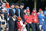 Ryder Cup 206 K Club, Straffan, Ireland..American Ryder Cup team players Tiger Woods and his teammate Jim Furyk on the fairway of the second hole during  the  morning fourballs session of the second day of the 2006 Ryder Cup at the K Club in Straffan, Co Kildare, in the Republic of Ireland, 23 September 2006...Photo: Eoin Clarke/ Newsfile.