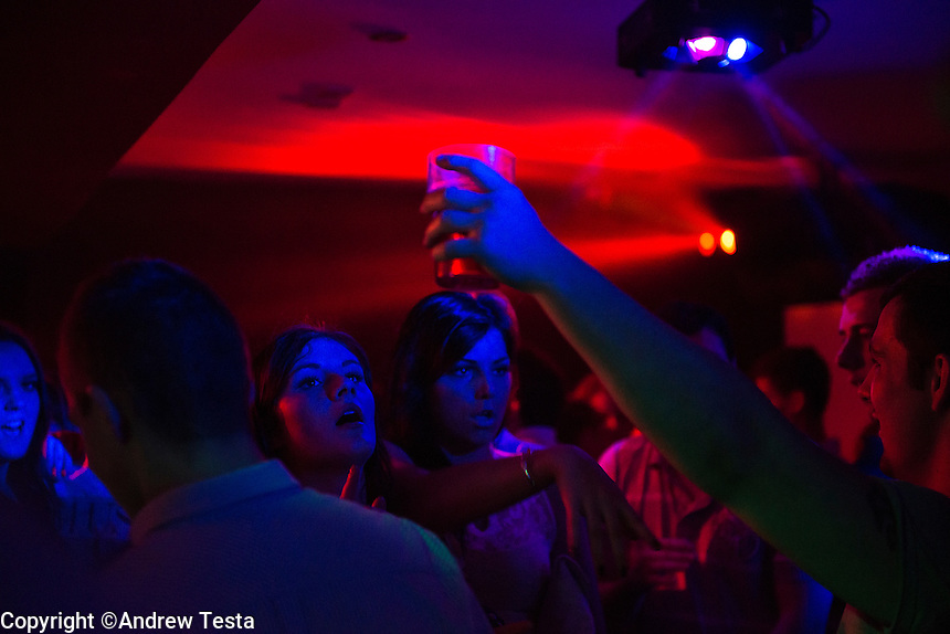 UK.Cleethorpes . 20th October 2013<br /> clubbers at a nightclub in cleethorpes<br /> &copy;Andrew Testa for the Sunday Times Magazine
